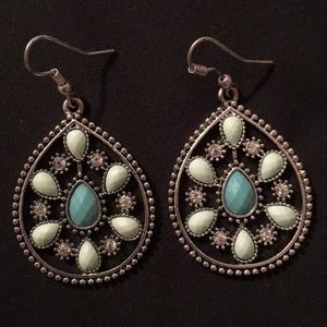 Sea foam green and teal diamond earrings
